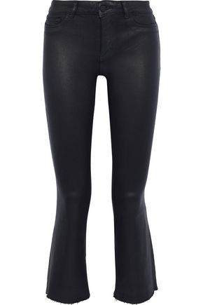 DL1961 Lara cropped coated mid-rise kick-flare jeans