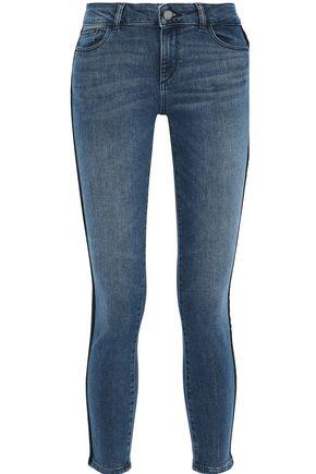 DL1961 Florence cropped velvet-trimmed low-rise skinny jeans