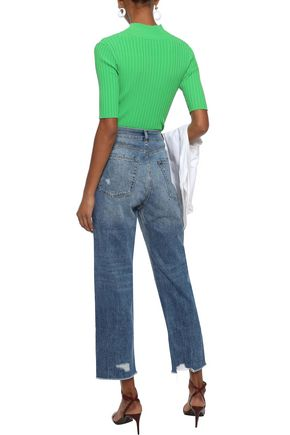 DL1961 Addison cropped distressed high-rise straight-leg jeans