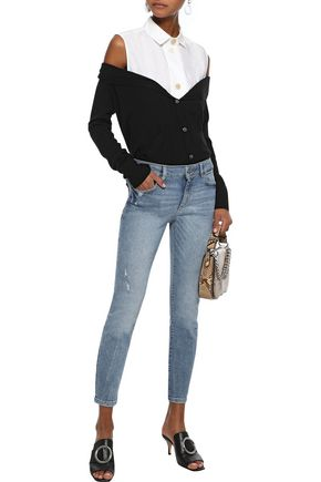 DL1961 Florence cropped distressed low-rise skinny jeans