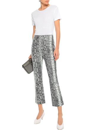 IRIS & INK Axel snake-print leather kick-flare pants