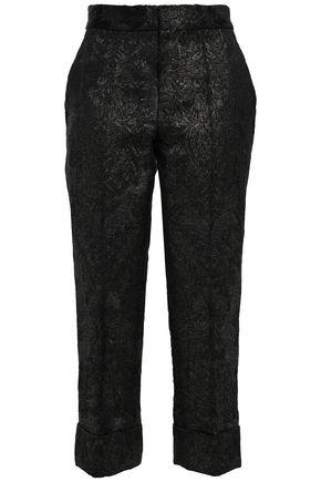 J.MENDEL Cropped metallic cotton-blend straight-leg pants