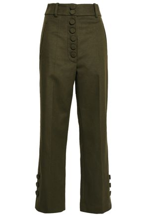 JOSEPH Button-detailed wool and cashmere-blend felt straight-leg pants