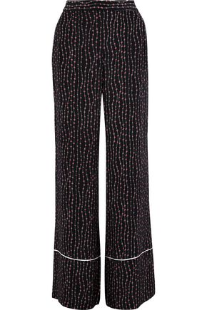 LA LIGNE Stars And Stripes printed crepe de chine wide-leg pants