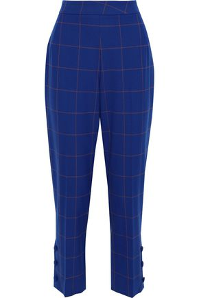 LELA ROSE Cropped checked jacquard straight-leg pants