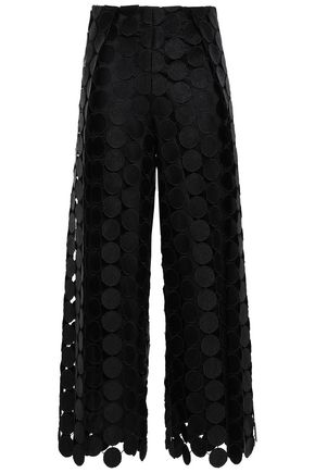 SOLACE LONDON Cropped paneled guipure lace wide-leg pants