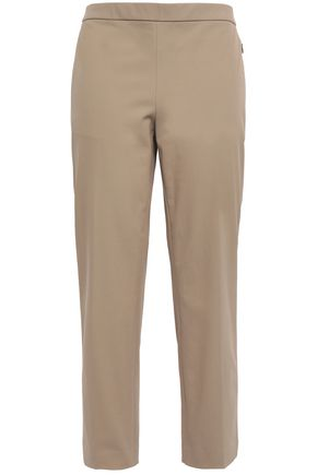 Cropped Cotton Blend Twill Tapered Pants by Theory