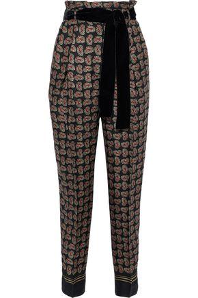 PHILOSOPHY di LORENZO SERAFINI Belted printed crepe tapered pants