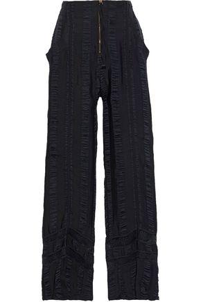 PHILOSOPHY di LORENZO SERAFINI Lace-trimmed crinkled satin-crepe straight-leg pants