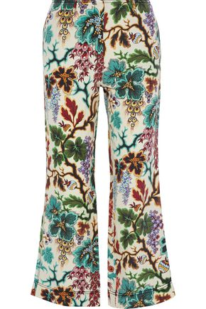 PHILOSOPHY di LORENZO SERAFINI Cropped printed linen and silk-blend canvas straight-leg pants