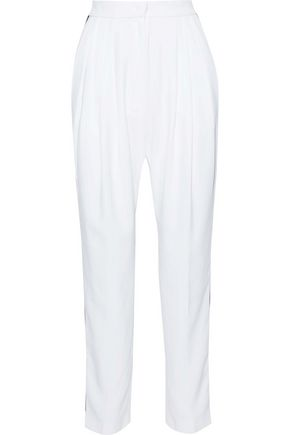 PHILOSOPHY di LORENZO SERAFINI Pleated striped crepe de chine tapered pants