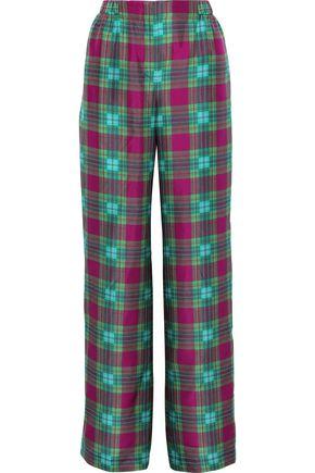 ALBERTA FERRETTI Checked silk wide-leg pants