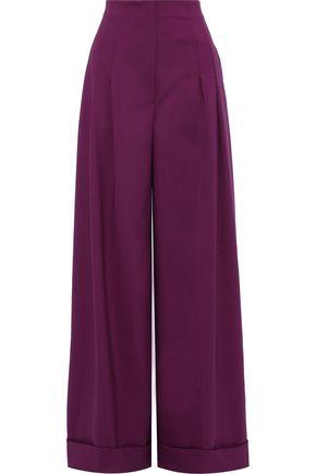 ALBERTA FERRETTI Pleated wool-blend wide-leg pants
