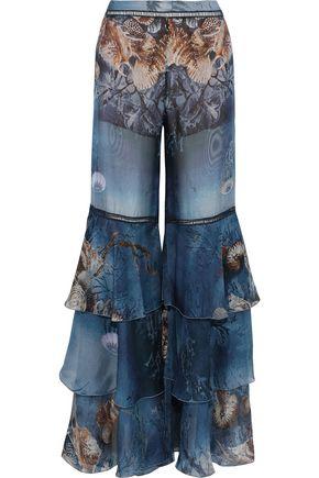 ALBERTA FERRETTI Crochet-trimmed tiered printed silk-chiffon flared pants