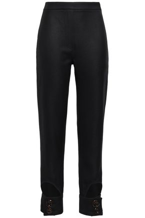 ELLERY | Ellery Cropped Cutout Wool-Blend Twill Slim-Leg Pants | Goxip