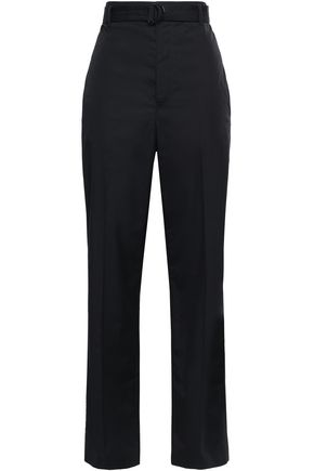 JOSEPH Belted cotton-poplin straight-leg pants