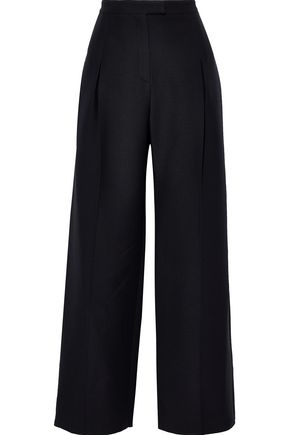 VALENTINO Pleated wool and silk-blend wide-leg pants