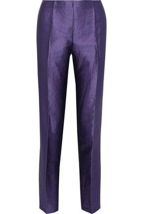 ALBERTA FERRETTI Linen-blend satin-twill slim-leg pants
