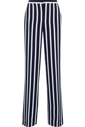 ALBERTA FERRETTI Striped crepe wide-leg pants