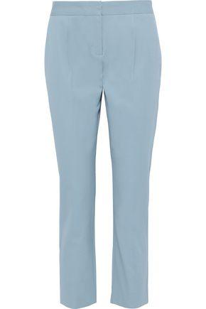 DONNA KARAN Cropped stretch-cotton twill straight-leg pants
