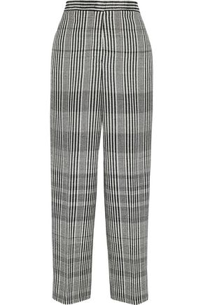 JIL SANDER Cropped checked wool-blend wide-leg pants