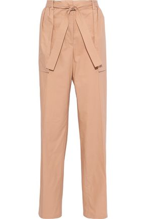 JIL SANDER Belted cotton-poplin straight-leg pants