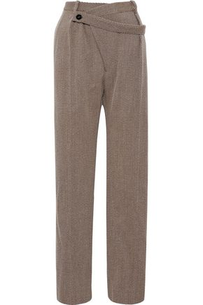 JIL SANDER Belted wool wide-leg pants