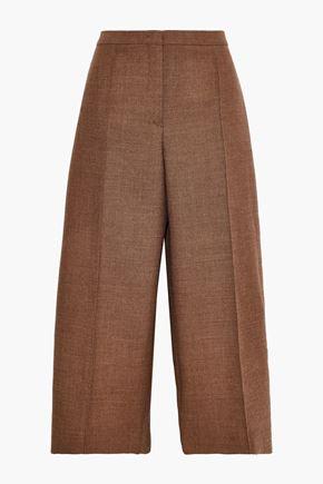 JIL SANDER Cropped wool-tweed wide-leg pants