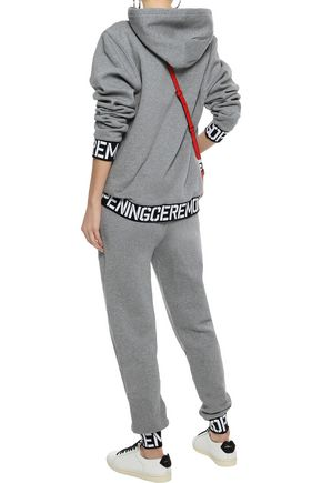 OPENING CEREMONY Jacquard-trimmed French cotton-terry track pants