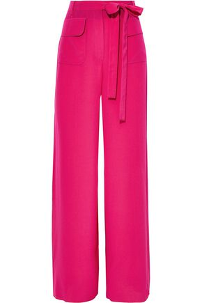 VALENTINO Belted washed-silk wide-leg pants