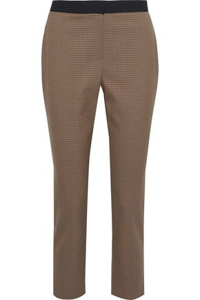 ROSETTA GETTY Cropped houndstooth twill slim-leg pants