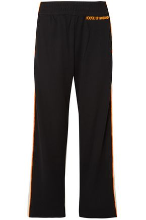 HOUSE OF HOLLAND Missy velvet-trimmed jersey track pants