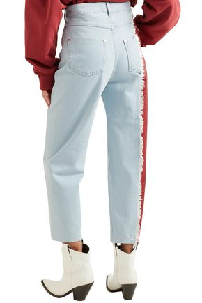 HOUSE OF HOLLAND Frayed two-tone high-rise straight-leg jeans
