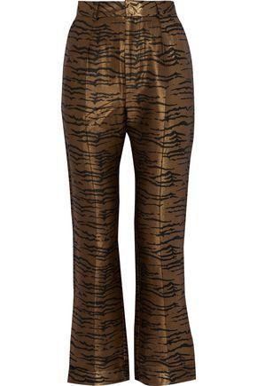 DE LA VALI Tiger Lily zebra-jacquard straight-leg pants