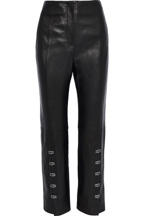 JONATHAN SIMKHAI Hook-detailed leather straight-leg pants
