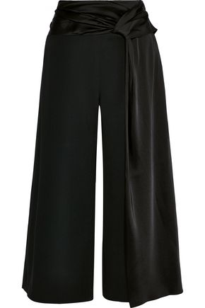 JONATHAN SIMKHAI Tie-front satin-trimmed stretch-crepe culottes