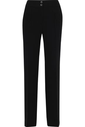 IRIS & INK Maj pleated crepe straight-leg pants