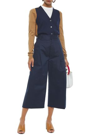 Marni Pleated Cotton And Linen-blend Drill Culottes In Navy