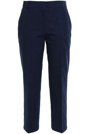 THOM BROWNE Cropped textured-cotton straight-leg pants