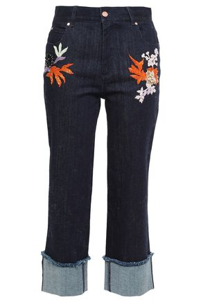OSMAN Cropped embellished high-rise straight-leg jeans