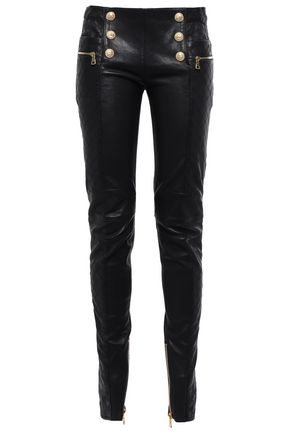 BALMAIN Button-detailed leather skinny pants