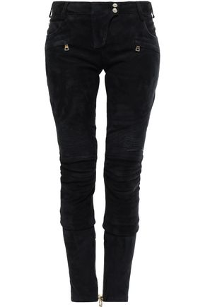 BALMAIN Stretch-suede skinny pants
