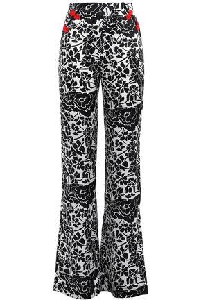 DE LA VALI Appliquéd floral-print silk-satin straight-leg pants