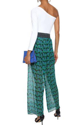 ANNA SUI Metallic-trimmed printed plissé silk-georgette wide-leg pants