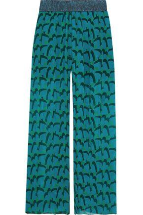 ANNA SUI Metallic-trimmed printed plissé silk-chiffon wide-leg pants