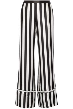 LA LIGNE Chez Moi striped silk-satin wide-leg pants