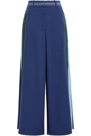 PETER PILOTTO Satin-trimmed crepe wide-leg pants