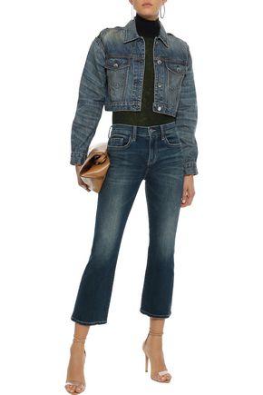 Current Elliott Current/elliott Woman The Kick Faded Mid-rise Kick-flare Jeans Mid Denim