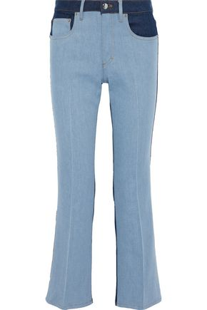 SONIA RYKIEL Two-tone mid-rise bootcut jeans