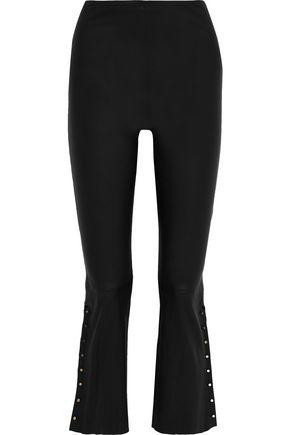 ALICE + OLIVIA Embellished leather flared pants